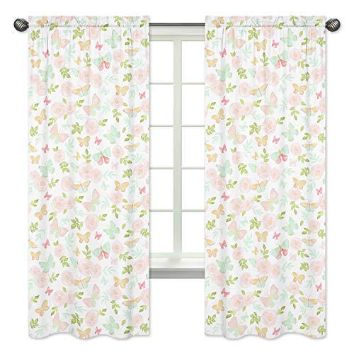 (Sweet Jojo Designs Blush Pink, Mint and White Watercolor Rose Window Treatment Panels Curtains for Butterfly Floral Collection - Set of 2)