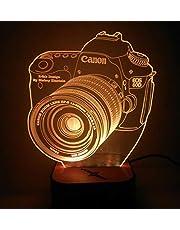 مصباح الخداع البصري ثلاثي الابعاد على شكل كاميرا كانون، متعدد الالوان والاشكال مع ريموت كنترول