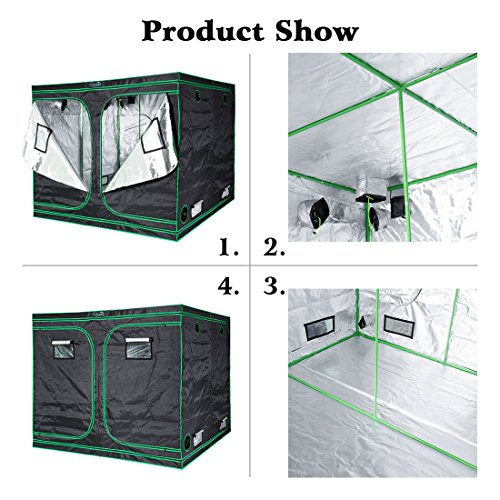 """51vdZS4DeZL - Quictent SGS Approved Eco-friendly 96""""x96""""x78"""" Reflective Mylar Hydroponic Grow Tent with Obeservation Window and waterproof Floor Tray for Indoor Plant Growing 8'x8'"""