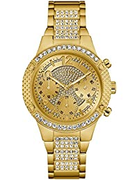 Gold-Tone Stainless Steel Crystal Glitz Bracelet Watch with Day, Date + 24 Hour Military/Int'l Time. Color: Gold-Tone (Model: U0850L2)