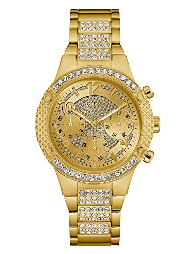 GUESS  Gold-Tone Stainless Steel Crystal Glitz Bracelet Watch with Day, Date + 24 Hour Military/Int