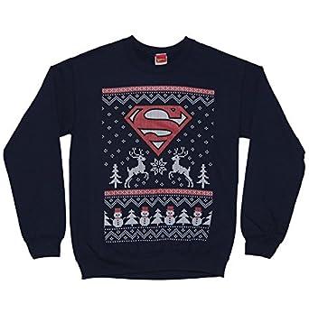 Unisex Navy Superman Fair Isle DC Comics Christmas Sweater: Amazon ...