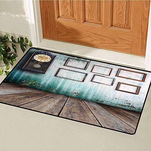 (GloriaJohnson Clock Front Door mat Carpet A Vintage Clock and Empty Picture Frames in an Old Room Wooden Backdrop Print Machine Washable Door mat W29.5 x L39.4 Inch Green and Brown)