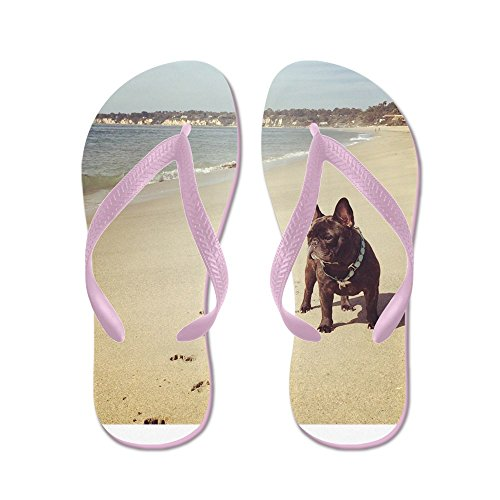 CafePress French Bulldog On The Beach - Flip Flops, Funny Thong Sandals, Beach Sandals Pink