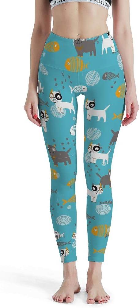 Gato y Pescado Pantalones de Yoga ultrasuaves - Tamaño Plus Pantalones de Yoga Leggings de diseño de Gatos, Color Blanco, tamaño Medium: Amazon.es: Hogar
