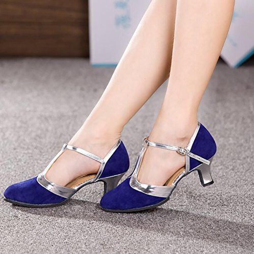 Moderne Absatznaht Party Schuhe amp; Schuhe E Größe Damen Tanzschuhe Wildleder 39 Cuban Spitze Ferse XUE Farbe Ein Abend Ballsaal pRS5Pq