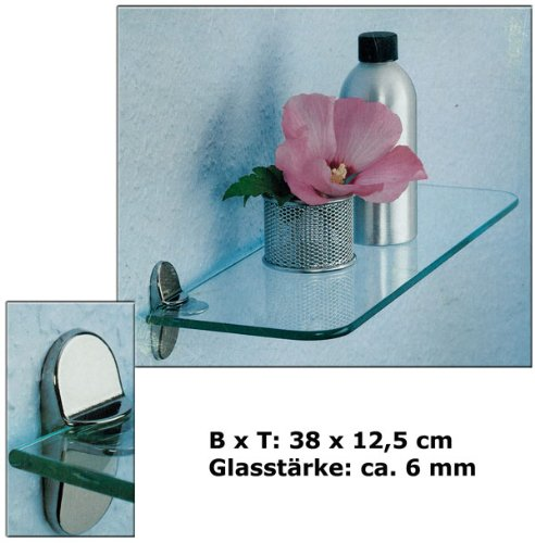 Glasregal Glasregale Wandregal Badregal Ablage Regal Glasablage Glas (38x12)