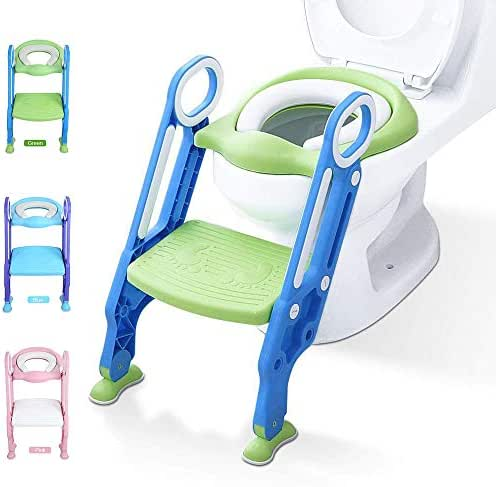 Potty Training Toilet Seat with Step Stool Ladder for Kid and Baby, Adjustable Toddler Toilet Training Seat with Soft Anti-Cold Padded Seat, Safe Handles and Non-Slip Wide Steps, Blue Green for Kids