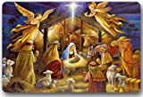 Christmas Nativity Holy Family, Tree--Three Wisemen Christmas Mat Floor Mat Door Mat Neoprene Rubber Non Slip Backing Machine Washable (23.6''x15.7'',L x W)