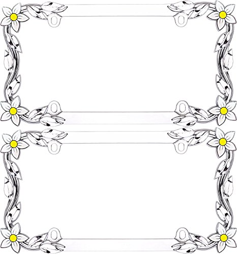 Cruiser Accessories Chrome 'Daisy' License Frame (2 Frames) (2 Pack Daisy)