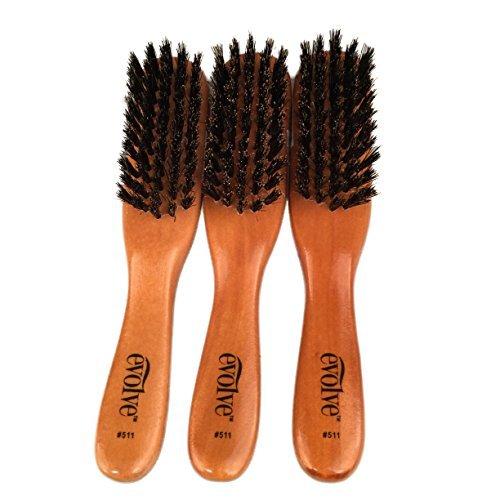 Evolve 100% Boar Bristle Hair Brush, Best Brush for Pocket / Purse / Travel Size, Distribute Natural Oil & Stimulate Scalp, Great for Beards - 3 PACK