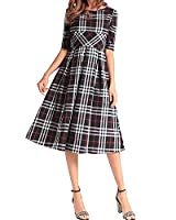 AELSON Women Half Sleeve A Line Dress Casual Plaid Midi Dress