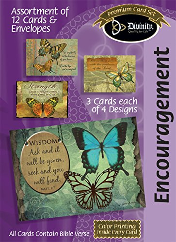Assorted Encouragement, Butterflies - Scripture Greeting Cards - Boxed Set Assortment of 4 Designs 12 Pack Set