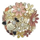 Gypsy Jewels Enamel Flower Bumble Bee Flower Rhinestone Wide Hinged Bangle Bracelet (Multi Color Gold Tone)