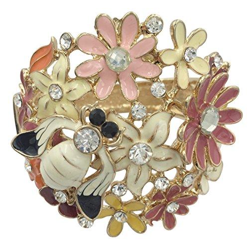 (Gypsy Jewels Enamel Flower Bumble Bee Flower Rhinestone Wide Hinged Bangle Bracelet (Multi Color Gold Tone))