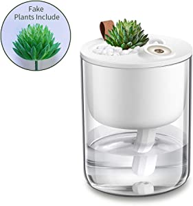 DCMEKA Desk Humidifier, USB Cool Mist Humidifier, Quiet Ultrasonic Mini Humidifiers for Bedroom Home Baby Office Car with Led Light,Timed Auto Shut Off, Lasts Up to 10 Hours (Artificial Plant Include) White