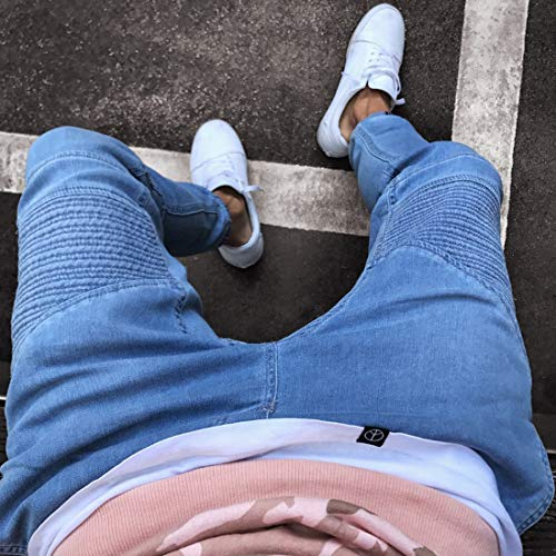 para Size Pantalones Deportivos Hombres Vaqueros Pantalones Corredores APRFELICIA Ajustados Pantalones S Color elásticos Blue Deportivos Blue wgq1Ia
