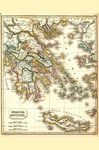 Ancient Greece Antique Style Map Poster