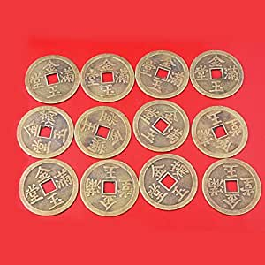 12pcs Chinese Fortune Coins-feng Shui Double Dragons Fortune Coins + Gift BAG Y1123