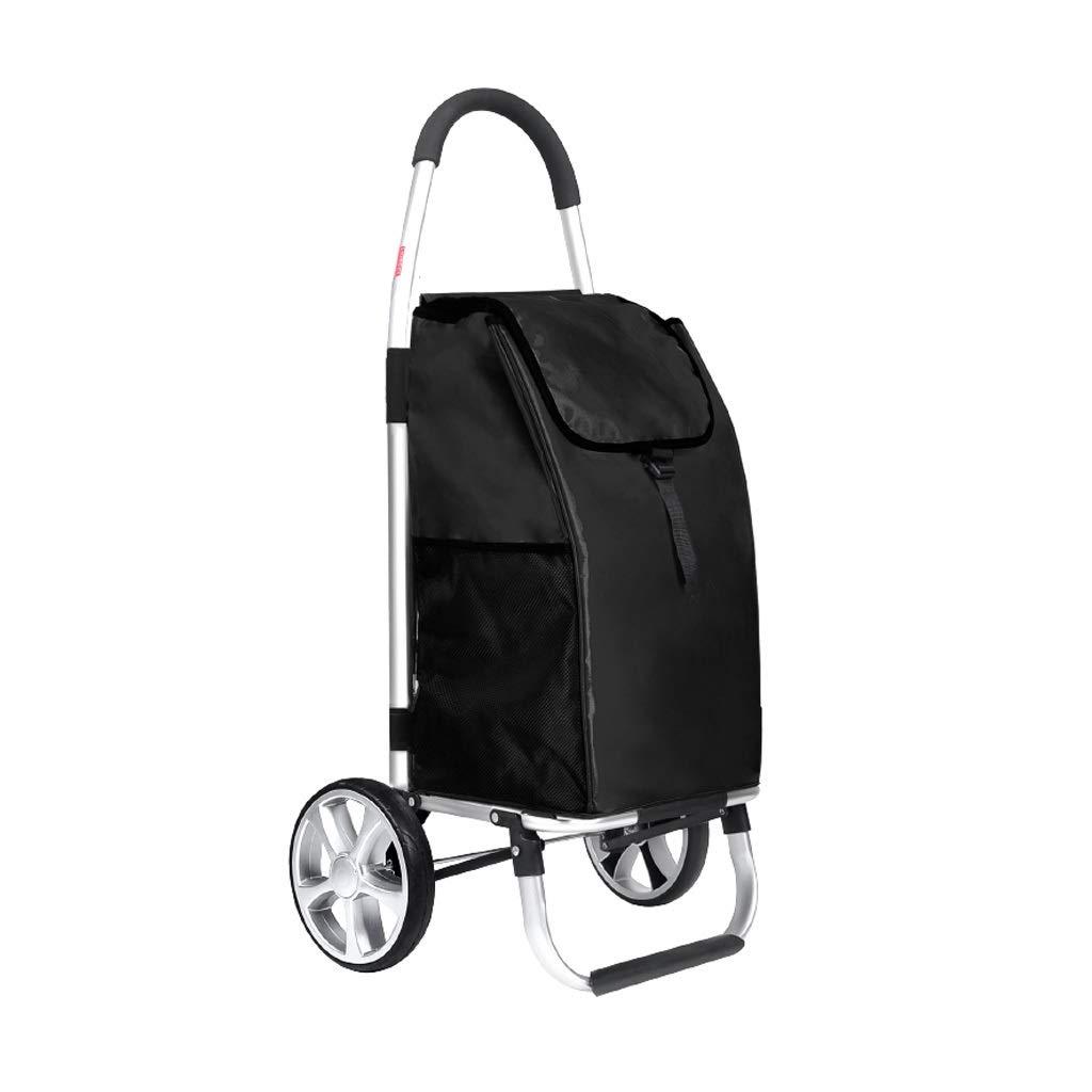 トロリードリー、ショッピングカート多機能食料品折りたたみピクニックビーチ、6色 (色 : ブラック) B07QKC1S1N ブラック