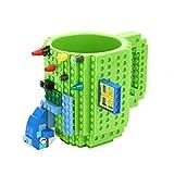 Brick Mugs -Fubarbar Lego Type Creative DIY Building Coffee Cups Funny Tea Mug Beverage Cup Built-on Bricks enjoy Creative Time 12 oz (Green)