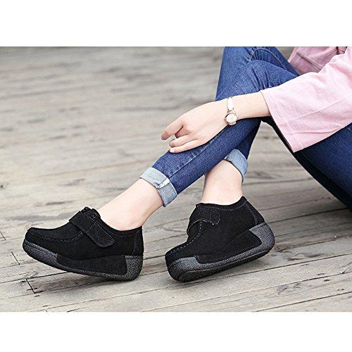 Btrada Donna Mocassino Fondo Scarpe Casual Shake Walking Sneaker Faux Suede Driving Mocassino Scarpe Nero