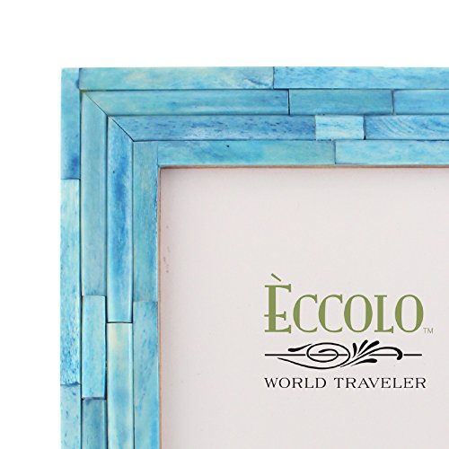 Holds 4 by 6-Inch Photo Eccolo World Traveler Naturals Collection Bangalore Raised Interior Frame Turquoise HF307