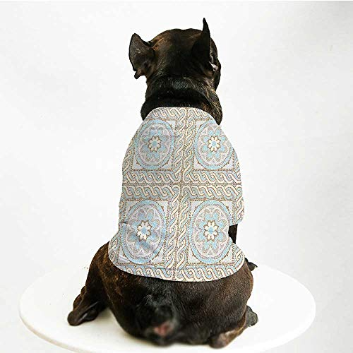 YOLIYANA Antique Fashion Pet Suit,Mosaic Tile Design with Floral Elements Twists and Colorful Circular Pattern for Cats and Dogs,S - Twist Mosaic
