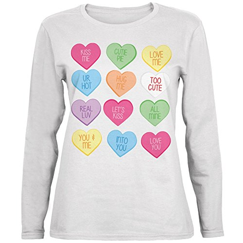 Old Glory Valentine's Day Candy Hearts White Womens Long Sleeve T-Shirt - Large
