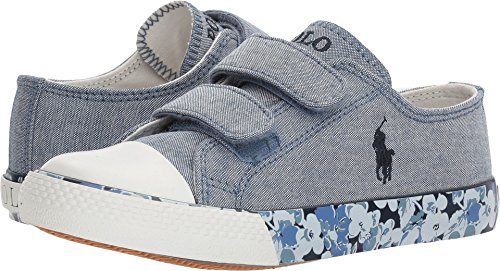 Polo Ralph Lauren Kids Girl's Slone EZ (Little Kid) Blue Chambray/Navy Pony Player/Printed Floral Foxing 13.5 M US Little - Lauren Ralph Girl