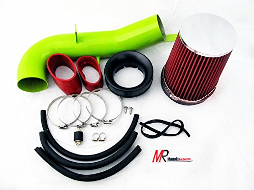 2007 2008 GMC Yukon Denali with 6.2L V8 Engine Green Piping Heat Shield Cold Air Intake System Kit with red Filter by Monoka Racing