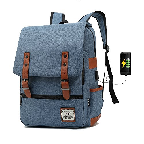 775 15.6inch With USB Computer Bag Casual Unisex Waterproof Oxford School Backpack Women/ Men School Backpack Rucksack (gray) Light Blu 0oyFii0X