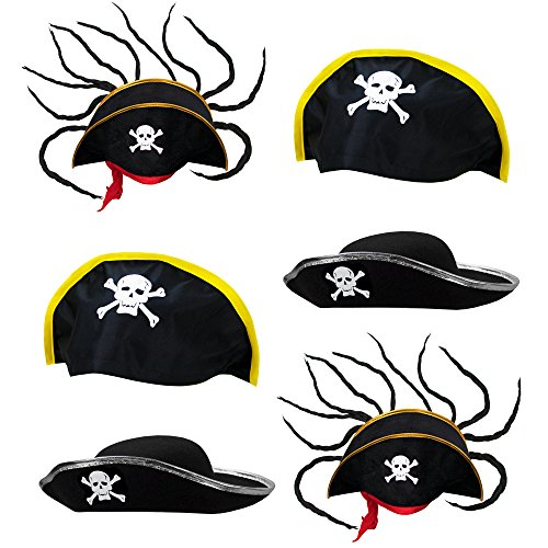 Pirate Hat Party Pack, 6 Halloween Costume accessories Dress Up Cosplay Headwear]()