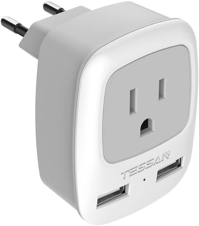 European Travel Plug Adapter, TESSAN International Power Plug with 2 USB, Outlet Adaptor for US to Most of Europe EU Spain Iceland Italy France Germany(Type C)
