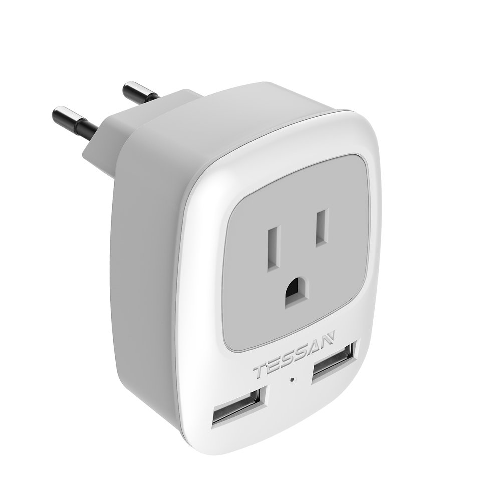 European Travel Plug Adapter, TESSAN Power Plug with 2 USB Ports, 3 in 1 AC Outlet for USA to Most of Europe Spain Iceland (Type C)