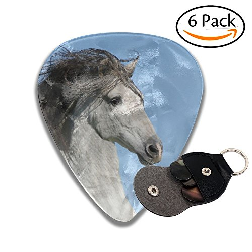 Andalusian Horse White Blue Sky Leather Pick Holder Keychain - 351 Shape Classic Guitar Picks (6 Pack) For Electric Guitar, Acoustic Guitar, Mandolin, And Bass (0.46mm, 0.71mm, 0.96mm) (Blue Guitar Pick Necklace)