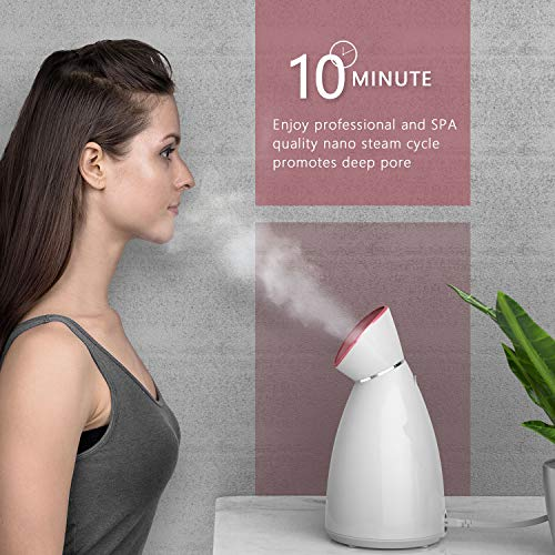 Liberex Facial Steamer  Nano Ionic Face Steamer 70ml Water Tank with LED Indicator Warm Mist