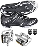 Venzo Mountain Bike Bicycle Cycling Shimano SPD Shoes + Multi-Use Pedals 43
