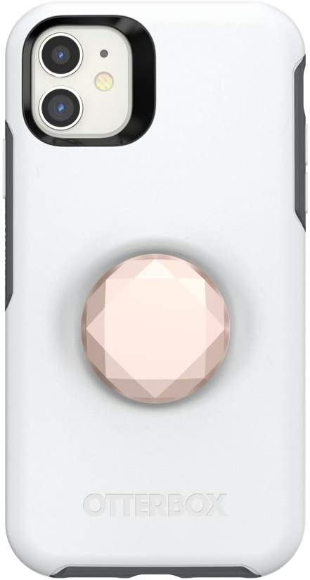 Otter + Pop for iPhone 11: OtterBox Symmetry Series Case with PopSockets Swappable PopTop - Polar Vortex and Metallic Diamond Rose Gold