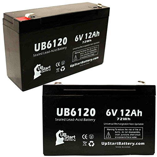 2 Pack Replacement for Eagle Pitcher CF-6V12 Battery - Replacement UB6120 Universal Sealed Lead Acid Battery (6V, 12Ah, 12000mAh, F1 Terminal, AGM, SLA) - Includes 4 F1 to F2 Terminal - Eagle Pitcher