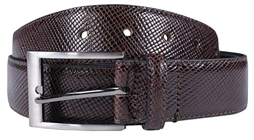 Click Selfie New Mens 35mm Wide Bonded Genuine Leather Snake Skin Textured (Leather Snake Genuine Belt)