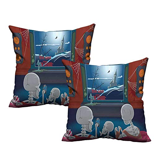 Iridescent cloud Personalized Pillowcase Movie Theater Family of Skeletons Sitting on a Sofa and Watching a Fantastic Movie at Home with Hidden Zipper W14 x L14 Multicolor ()