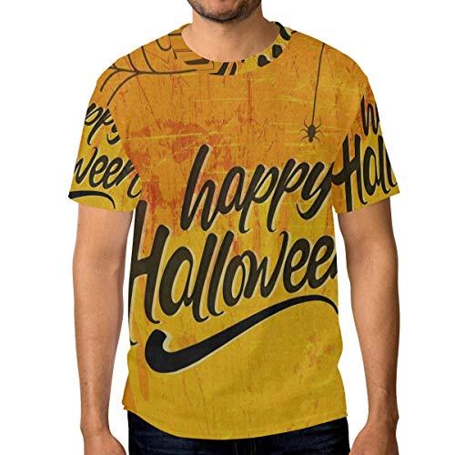 Crewneck Men's T-Shirt Happy Halloween Bat Fall Orange Classic Humor Novelty Graphic Funny Short Sleeve Tops -
