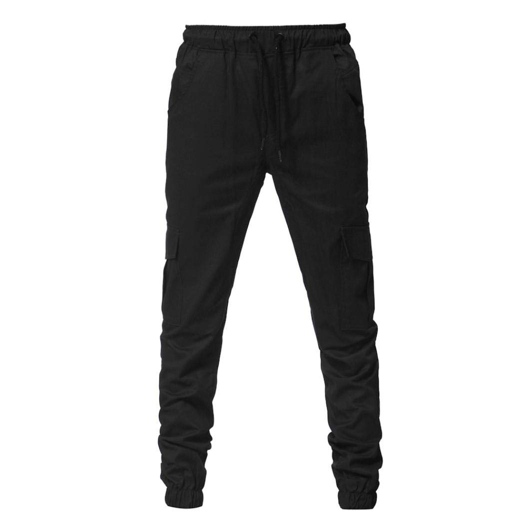 Realdo Clearance Fashion Sport Pure Color Bandage Casual Sweatpants Drawstring Cargo Pant Trousers(X-Large,Black) by Realdo (Image #2)