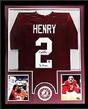 """Derrick Henry Autographed/Signed Alabama Crimson Tide Custom Framed Red Jersey With """"15 Heisman"""" Inscription"""