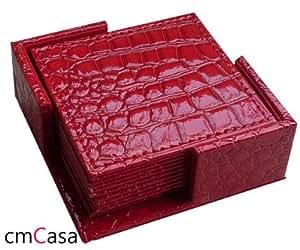 cmCasa[681] 10cmx 10cm Leather Coaster, set of 6 (Crocodile Red)