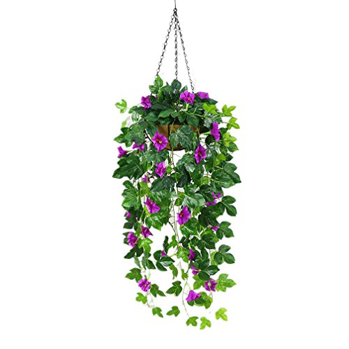 Mynse Silk English Ivy Plant Artificial Hanging Basket for Outdoor Home Decoration Hanging Basket Silk Morning Glory Vine Purple with Red (Big Basket)