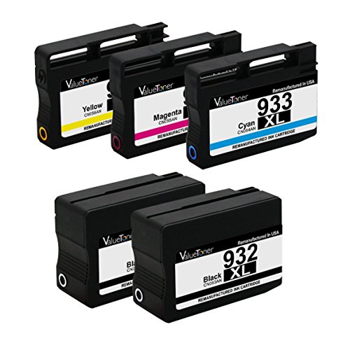 ValueToner Remanufactured Ink Cartridge Replacement for HP 932XL 933XL HP 932 933 (5 Pack) for HP Officejet 6600 - Officejet 6700 - Officejet 7612 - Officejet 6100 - Officejet 7610 - Officejet 7110 Printer