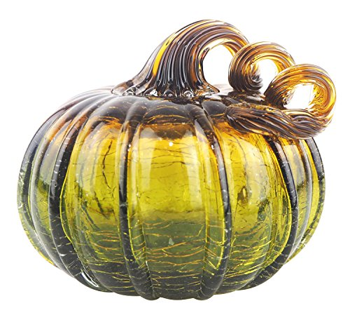 Starland Two-Color Hand Blown Glass Pumpkin Table Accent Fall Harvest Halloween Thanksgiving Decorating Ellipse Ornament 5.1 Inch Height (Brown and -