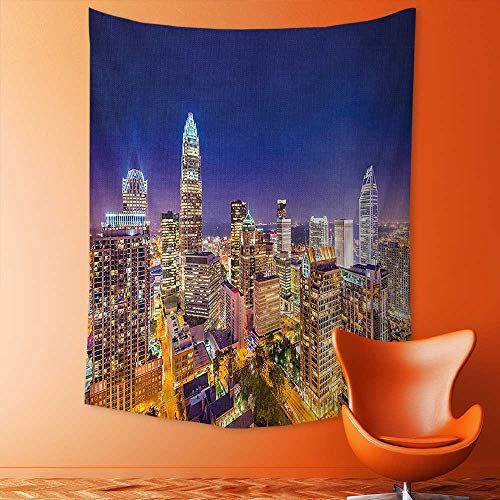 - aolankaili Tapestry Wall Hanging Panoramic North Carolina Uptown Sky at Night Cityscape Luminous Town Picture Indigo Orange Wall Tapestry for Bedroom Dorm Decor